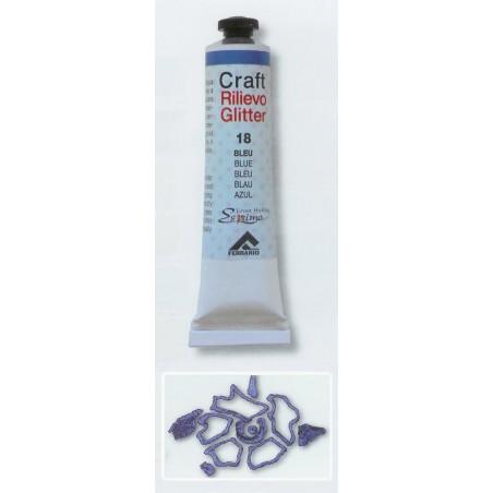 Craft Rilievo Glitter 20ml.  Glitter Bleu