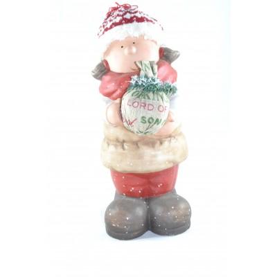 Bimbo O Bimba In Ceramica Con Stoffa 32 Cm